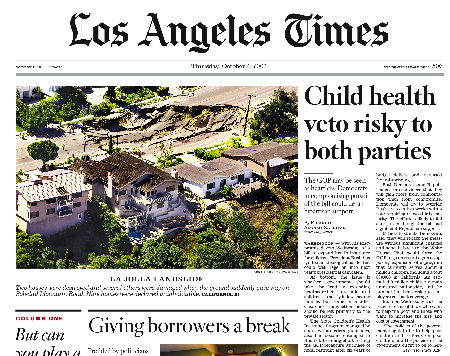 Los Angeles Times Front Page October 4, 2007