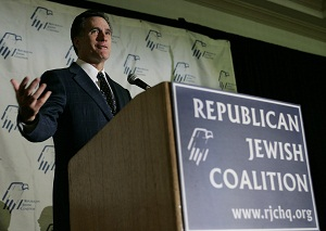 U.S. Republican presidential candidate Romney speaks to Republican Jewish Coalition of Florida in Boca Raton